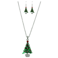 THE CRYSTAL CHRISTMAS TREE NECKLACE SET | RED/GREEN