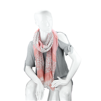 Fashionable Stylish Multi-Patterned Pink Fringed Scarf