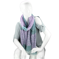 Fashionable Stylish Multi-Patterned Turquoise Fringed Scarf