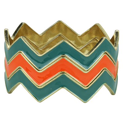 CHEVRON BRACELET | TEAL & ORANGE
