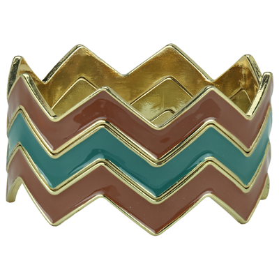 CHEVRON BRACELET | BROWN & TEAL
