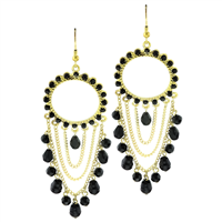 Stylish & Chic Black Crystal Stone Chain Linked Gold Toned Post Dangle Earrings