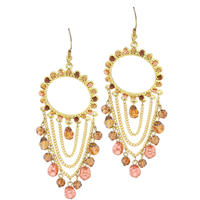 Stylish & Chic Brown & Pink Colored Crystal Stone Chain Linked Gold Toned Post Dangle Earrings