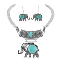 Silver and Turquoise Boho-Style Elephant Necklace Set