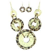 Stylish Lively Wild Acrylic Round Charms Leopard Fish Hook Earrings Gold Toned Necklace Set