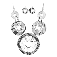 Stylish Lively Wild Acrylic Round Charms Zebra Fish Hook Earrings Silver Toned Necklace Set