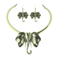 Gold with Black Accents Elephant Necklace Set