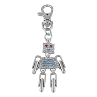 Red, Blue & Clear Crystals Robot Keychain
