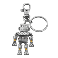 Light Brown, Dark Red & Clear Crystals Smiling Robot Keychain