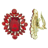 Gorgeous Sparkling Red & Gold Clip-On Earrings