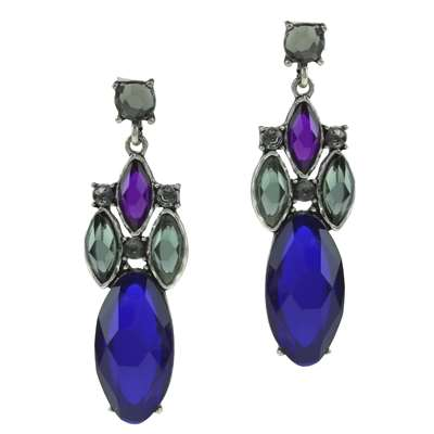 BLUE OVAL CRYSTAL DROP EARRINGS