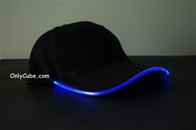 Led Lighted Glow Hat Black Fabric Blue LED