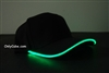 Led Lighted Glow Hat Black Fabric Green LED