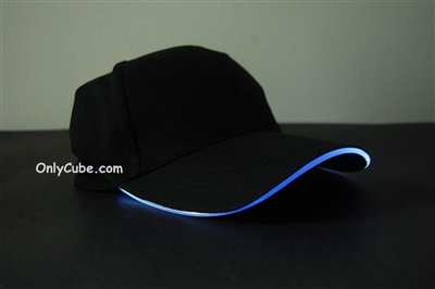 Led Lighted Glow Hat Black Fabric White LED