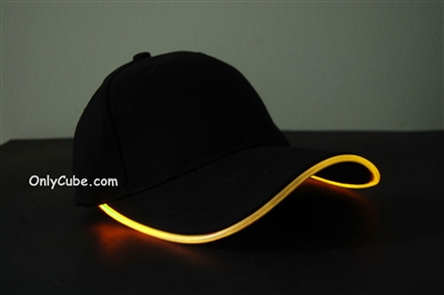 Led Lighted Glow Hat Black Fabric Yellow LED