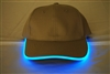 LED Lighted Glow Hat Khaki Fabric Blue LED