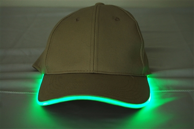 LED Lighted Glow Hat Khaki Fabric Green LED