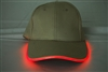 LED Lighted Glow Hat Khaki Fabric Red LED