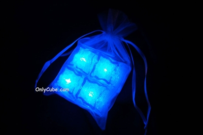 Litecubes Blue Light up LED Ice Cubes Sheer Fabric Gift Bag Set