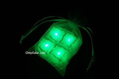 Litecubes Green Light up LED Ice Cubes Sheer Fabric Gift Bag Set