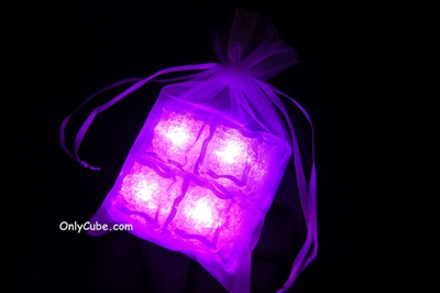 Litecubes Pink Light up LED Ice Cubes Sheer Fabric Gift Bag Set