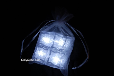Litecubes White Light up LED Ice Cubes Sheer Fabric Gift Bag Set