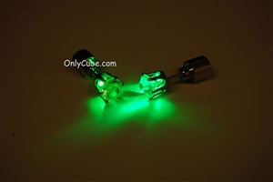 Green LED Light Up Diamond Shape Stud Earrings