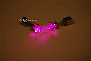 Pink LED Light Up Diamond Shape Stud Earrings