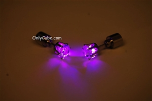 Purple LED Light Up Diamond Shape Stud Earrings