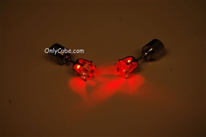 Red LED Light Up Diamond Shape Stud Earrings