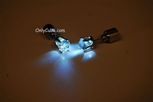 White LED Light Up Diamond Shape Stud Earrings