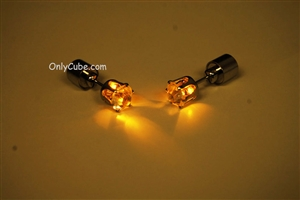 Yellow LED Light Up Diamond Shape Stud Earrings