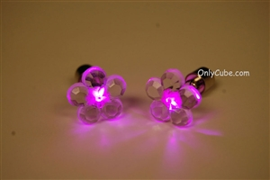 Pink LED Light Up Flower Shape Stud Earrings