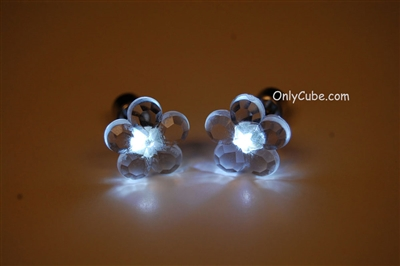White LED Light Up Flower Shape Stud Earrings