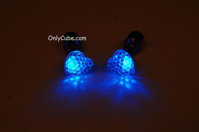 Blue LED Light Up Heart Shape Stud Earrings