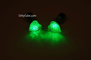 Green LED Light Up Heart Shape Stud Earrings