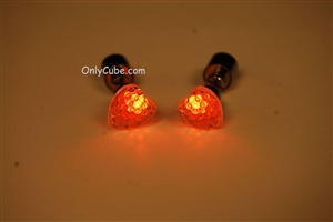Orange LED Light Up Heart Shape Stud Earrings