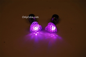 Pink LED Light Up Heart Shape Stud Earrings