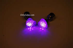 Purple LED Light Up Heart Shape Stud Earrings