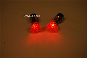 Red LED Light Up Heart Shape Stud Earrings