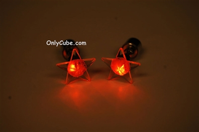 Orange LED Light Up Star Shape Stud Earrings