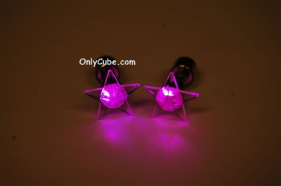 Pink LED Light Up Star Shape Stud Earrings