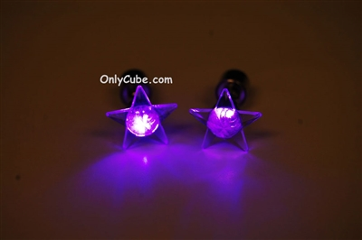 Purple LED Light Up Star Shape Stud Earrings