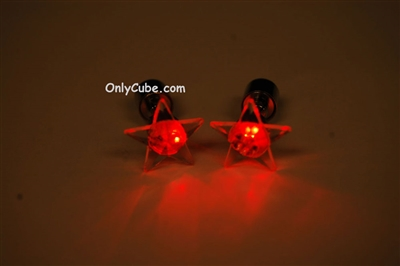 Red LED Light Up Star Shape Stud Earrings
