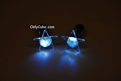 White LED Light Up Star Shape Stud Earrings