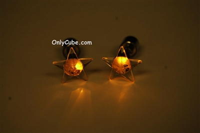 Yellow LED Light Up Star Shape Stud Earrings