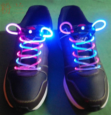 BiColor Pink White LED Shoelaces