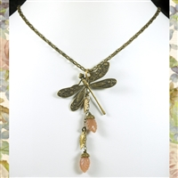 Dragonfly and the Moon Moonstone Necklace