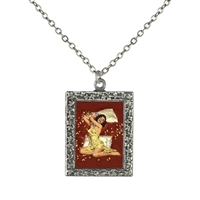 Vintage Art Pendant Necklace - Pin-Up Pillowfight Girl