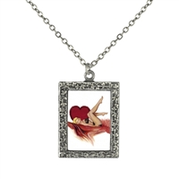 Vintage Art Pendant Necklace - Valentine Pin-Up Girl